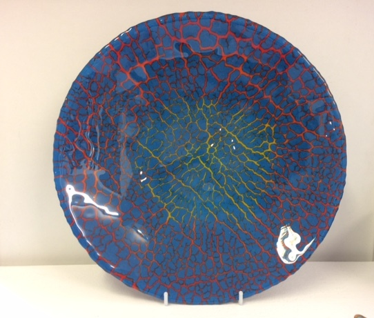 Blue and red crackle glaze plate by Karen Lilley