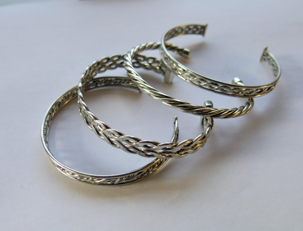 Selection of silver bangles by Hazel Morris